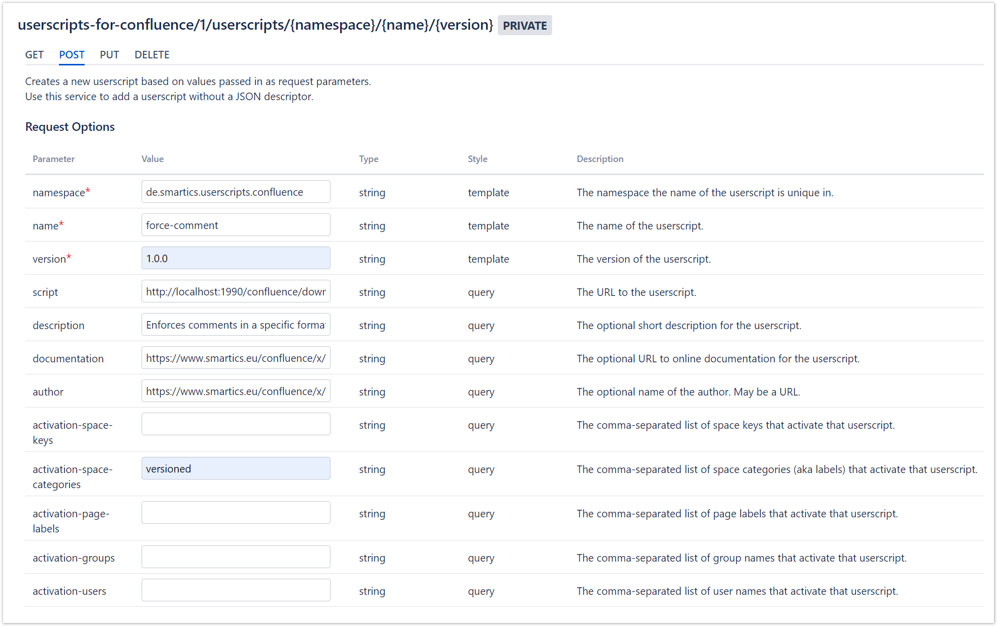 Screenshot of the REST API Browser with the configuration for this userscript.