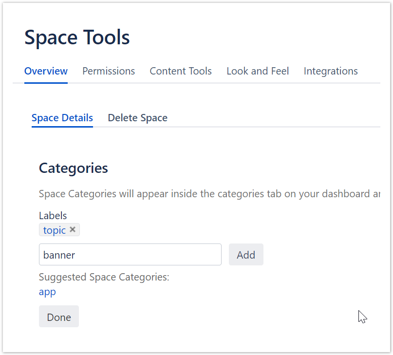 Screenshot with Space Details on Space Tools.