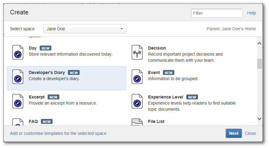 Create a Diary in a Personal Space - projectdoc Toolbox - Wiki