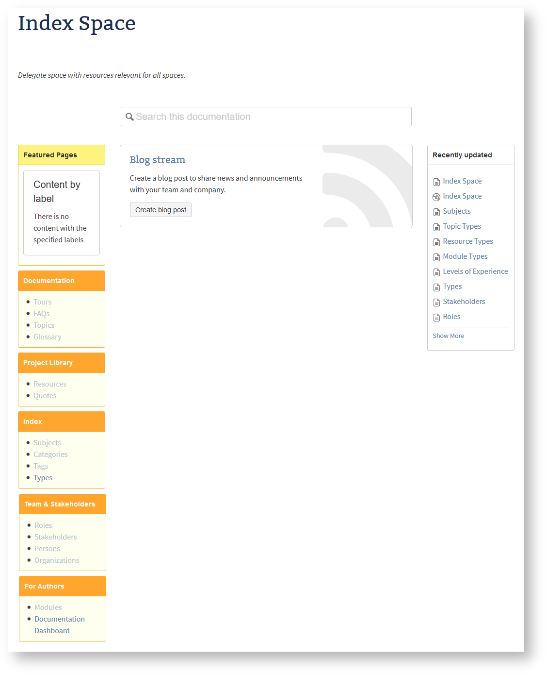 The new index space provides homepages to categorizing documents that are relevant to all your spaces.